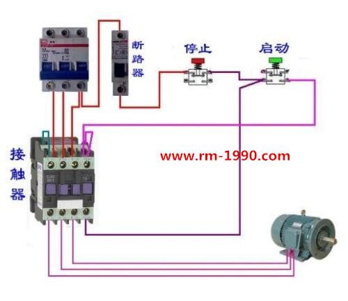 交流接触器三相电机实物接线图(电机组合接线图)